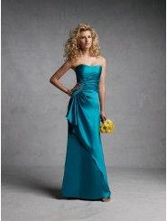 A-line Satin Gathered Asymmetrical Overlay Bodice Strapless Curved Neckline Bridesmaids Dresses (STBY11183)