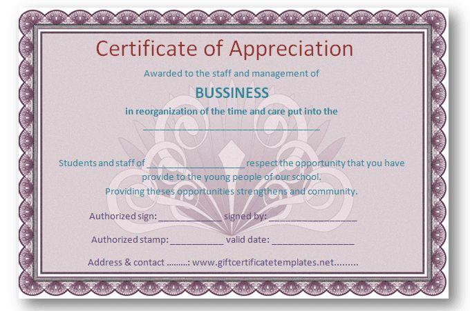 employee certificate of appreciation template certificate