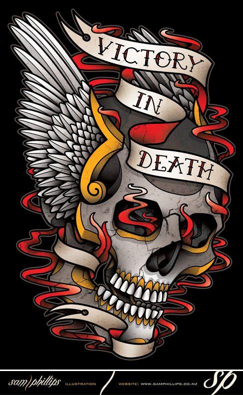 Winged Skull Tattoo T-Shirt Design by Sam-Phillips-NZ.deviantart.com on @deviantART