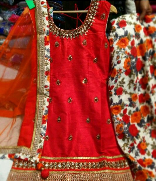 Red and Floral Print Salwar Suit
