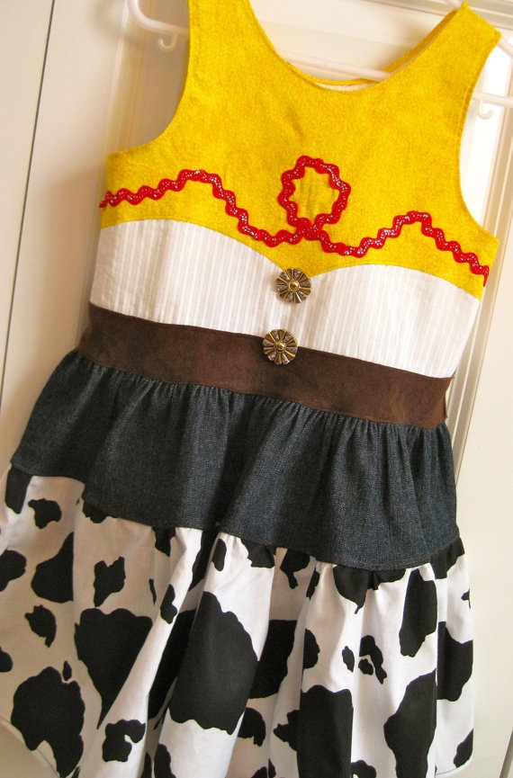 So this is what I made for my daughter to wear at the Toy Story Party! A Jessie Dress :)