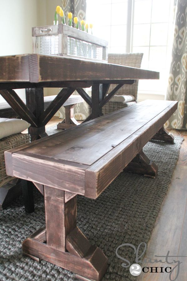 Hey Guys I M Back To Share The New Benches That I Built For My New Dining Table If You Dining Table With Bench Restoration Hardware Dining Table Diy Dining
