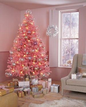 Pink tinsel tree