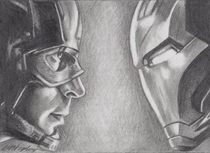 original pencil ACEO sketch card. Captain America vs Iron Man