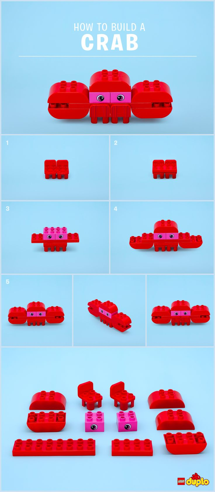 All sorts of exciting creatures live in the ocean! Have fun building a bright crab with your toddler, using our easy-to-follow guide! http://www.lego.com/da-dk/family/articles/how-to-build-a-crab-316d27d03a0247d9817436a4f2ad19d1