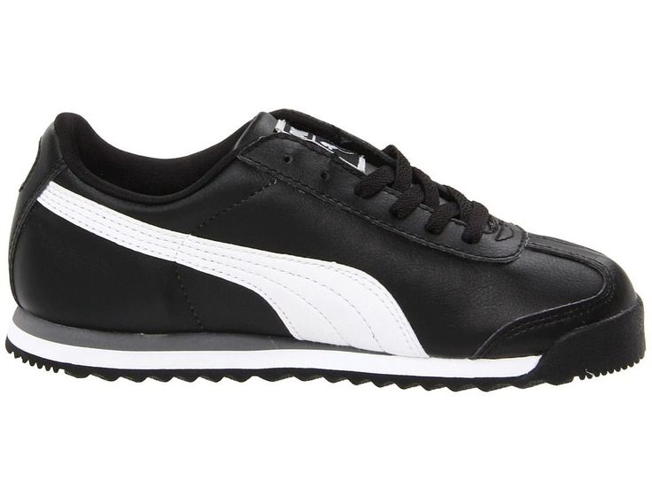 Puma Kids Roma Basic Jr. (Little Kid/Big Kid) Kids Shoes Black/White/Puma Silver