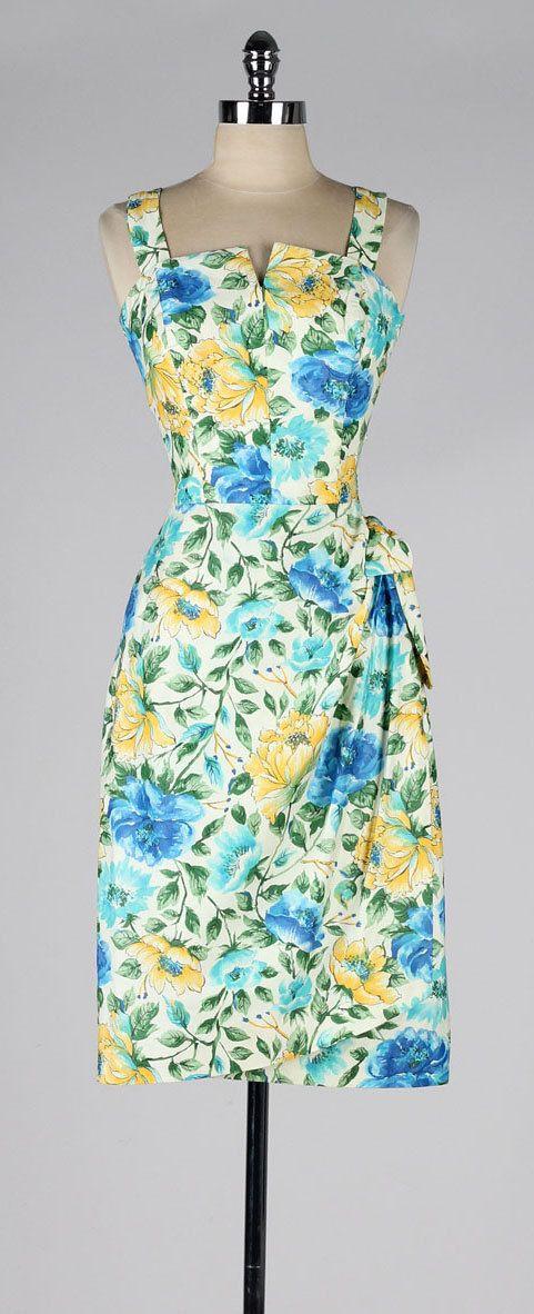 vintage 1950s dress . tropical print . by millstreetvintage