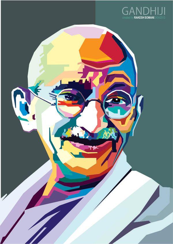 Wedha's Pop Art Portrait of Mahatma Gandhi