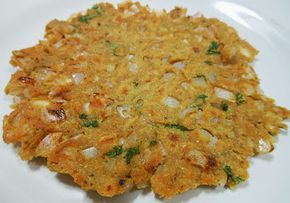 Thalipeeth: a flatbread that gets all its flavour from the roasted flour it is made from! Flour is made by slow roasting rice, pulses such as chana dal, moong dal, urad dal, bajri, jowari, nachni and spices such as corriander seeds and cumin seeds individually and then grinding them together into a fragrant flour.