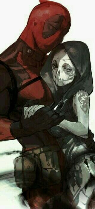 Deadpool & Death.>>>> This is beautiful. I don't like Deadpool, but this one of the most beautiful Marvel couple fanart pics I've ever seen! They just look so in love.