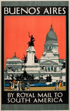 Buenos Aires Argentina Royal Mail Cruises, 1930s - original vintage poster by Kenneth Denton Shoesmith listed on AntikBar.co.uk