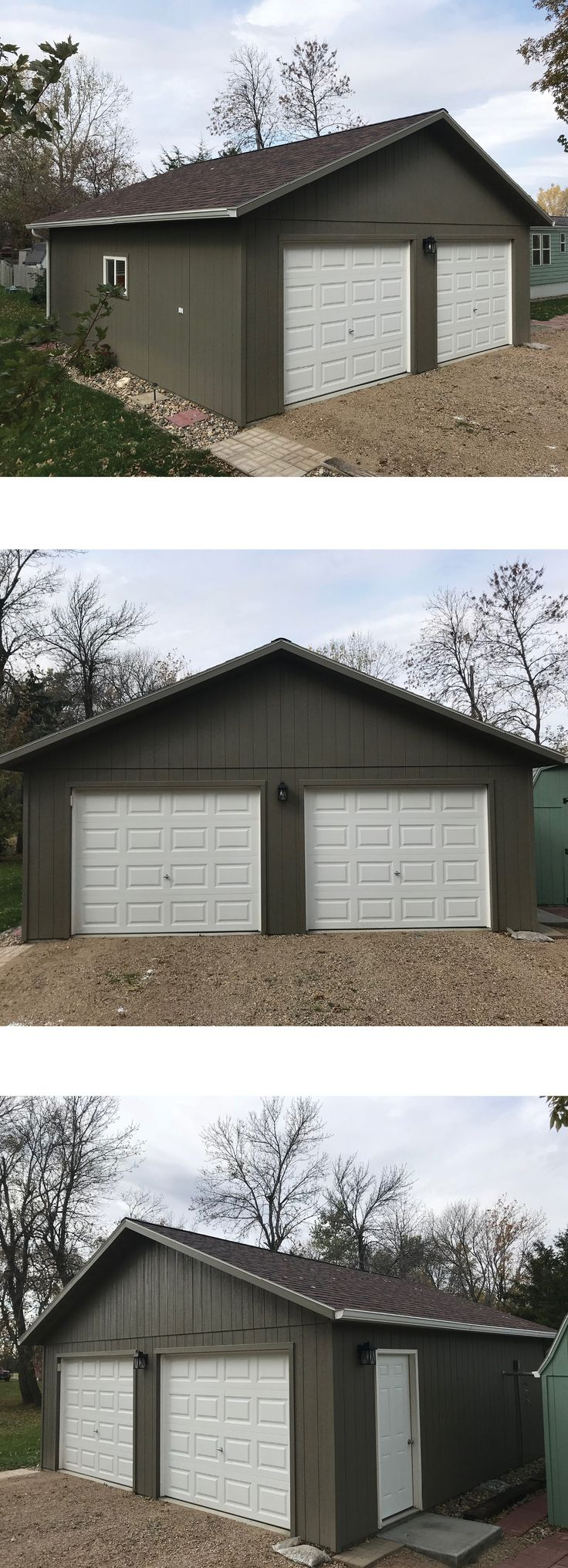 Classica northampton garage door white 9 x 8 no windows - Check Out This 24x24 Garage With Painted Lp Wood Panel Siding And 2 9x7