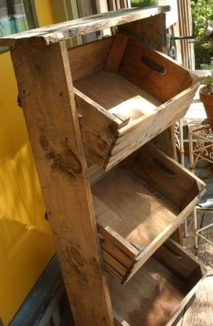 Old wood apple box shelf...  Luv It~!