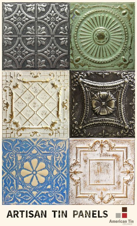 Artisan Tin Panels from American Tin Ceilings for backsplashes, ceilings, walls, commercial and DIY projects - Learn More: http://www.americantinceilings.com/resources/artisan-finishes.html?utm_source=pinterest&utm_medium=social&utm_campaign=samples&cpao= http://amzn.to/2keVOw4