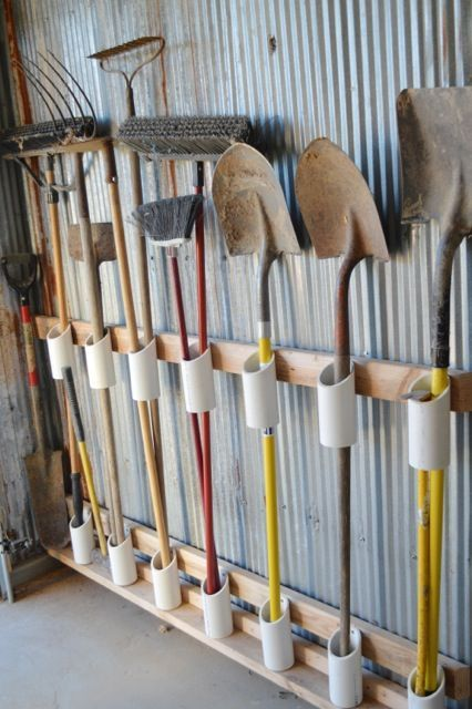 PVC pipe storage for your long handled tools in your garage or shed. We have the products you need to create this easy organizer today.