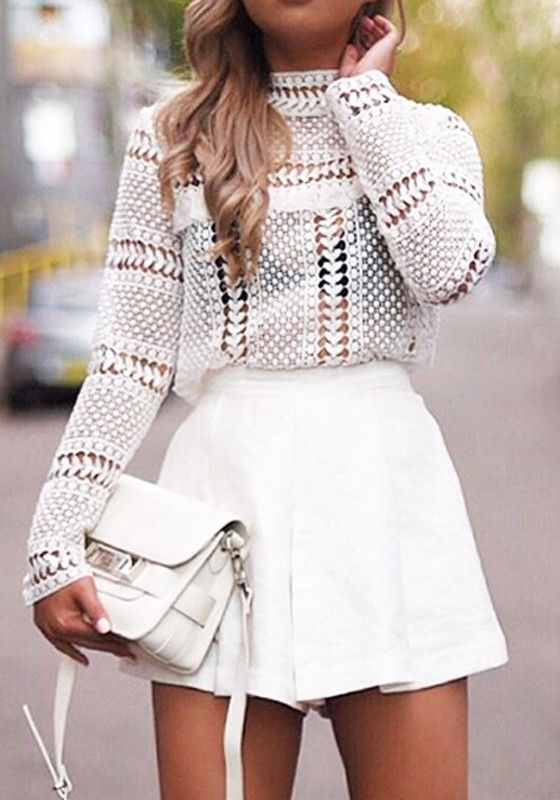 White Plain Lace Hollow-out Long Sleeve Fashion Blouse