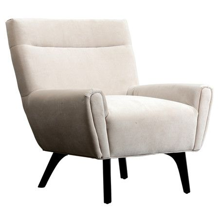 Contemporary accent chair with cream faux suede upholstery and exposed wood legs. Product: Chair    Construction Mat...