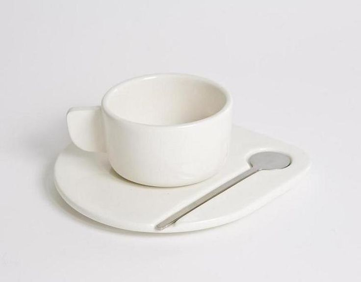 FLAT - set da caffè in ceramica e acciaio inox