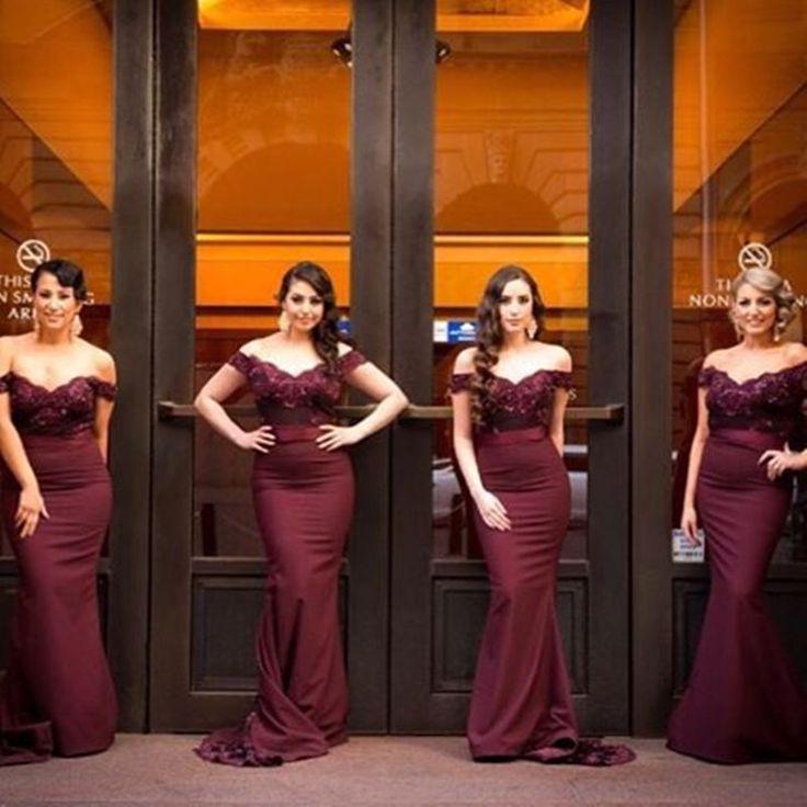 Vestidos De Damas De Honor Color Vino Tinto Vestidos De Moda