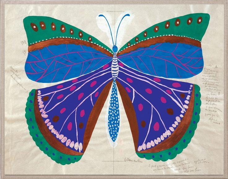 This unique reproduction is based on an original from the beautiful textile archives of French engraver, painter, and textile artist Paule Marrot (1902-1987). Early in her career, Marrot shifted her e