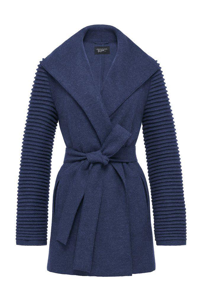Wrap Coat with Ribbed Sleeves – SENTALER