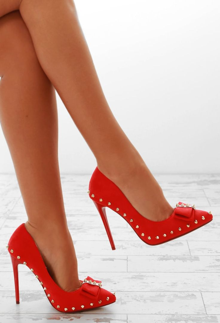 Ivy League Red Faux Suede Studded Bow Front Court Shoes | Pink Boutique