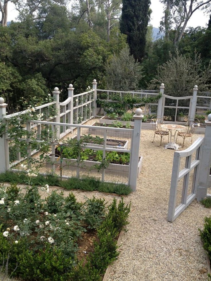"""{giannetti home: our clients' beautiful garden...} """" We stained the wood with Super Deck """"Weathered Wood"""" and used Del Rio 3/8"""" gravel on the paths. """""""