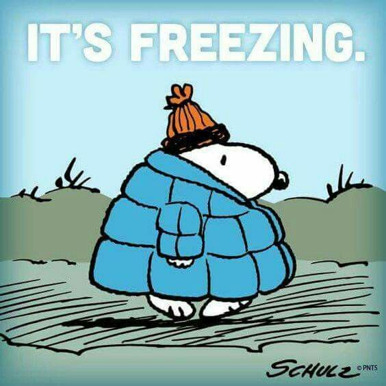 Snoopy cold weather humor.