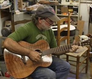 Music from teh Blue Ridge, Wayne Henderson, West Virginia world-renowned luthier test driving a Lichty Guitar
