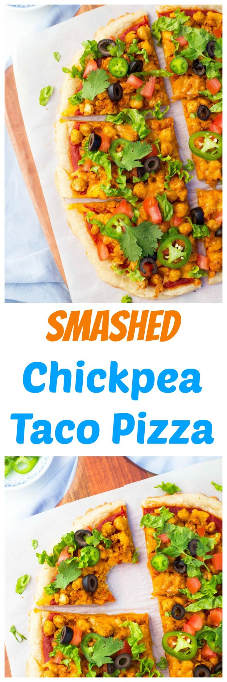 Smashed Chickpea Taco Pizza! The most delicious vegetarian pizza you will ever eat!! {gluten free, vegetarian}