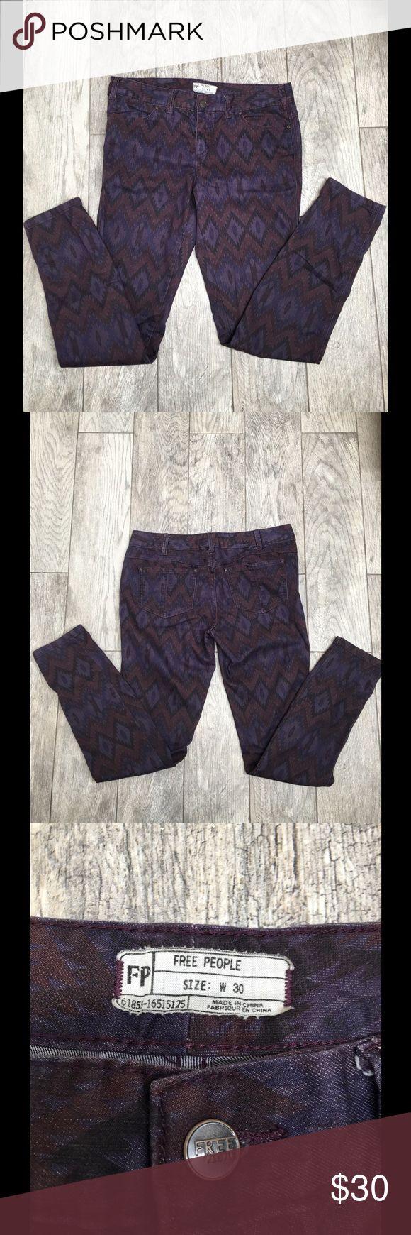 "Free People Ikat purple skinny  jeans Free People Ikat purple skinny  jeans, super cute print. EUC. Size 30. Measurements: waist 17"" inseam 31"" Free People Jeans Skinny"