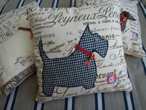 Scottie dog applique pillow / cushion cover by Sewhappyshop, $45.00