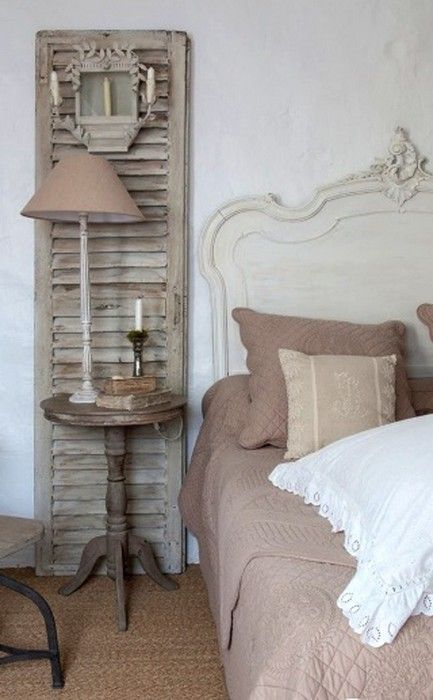 Tan velvet and cream in French country bedroom