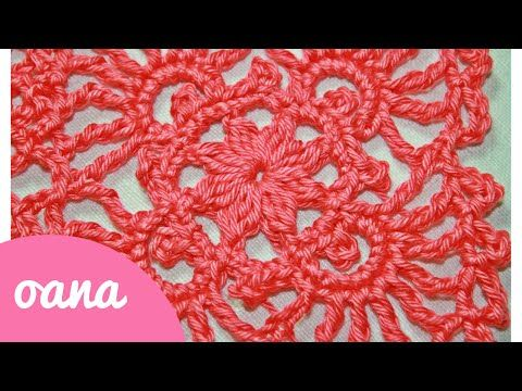 crochet lace square - YouTube