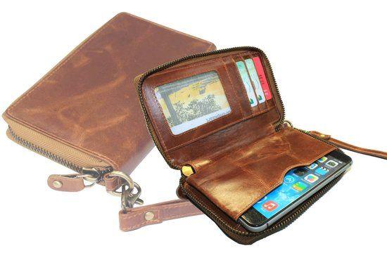 100% Leren Rits Portemonnee met steekvak voor Briefgeld of je Mobiel . Bijvoorbeeld Iphone 6. Kleur Bruin / Cognac. Art. 1118