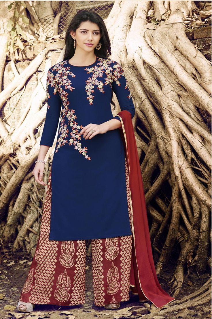 #navyblue #straight #suit #embroidery #trendy #red #simple #elegant #plazzo #georgette  #designer  #printed #dupatta #chiffon #online #shopping #salwarkameez #ranafashions #fashion