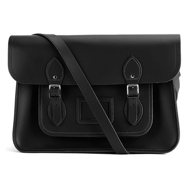 The Cambridge Satchel Company 15 Inch Leather Satchel - Black ($185) found on Polyvore featuring bags, handbags, accessories, purses, bolsas, genuine leather handbags, leather satchel, black purse, leather satchel purse and real leather handbags
