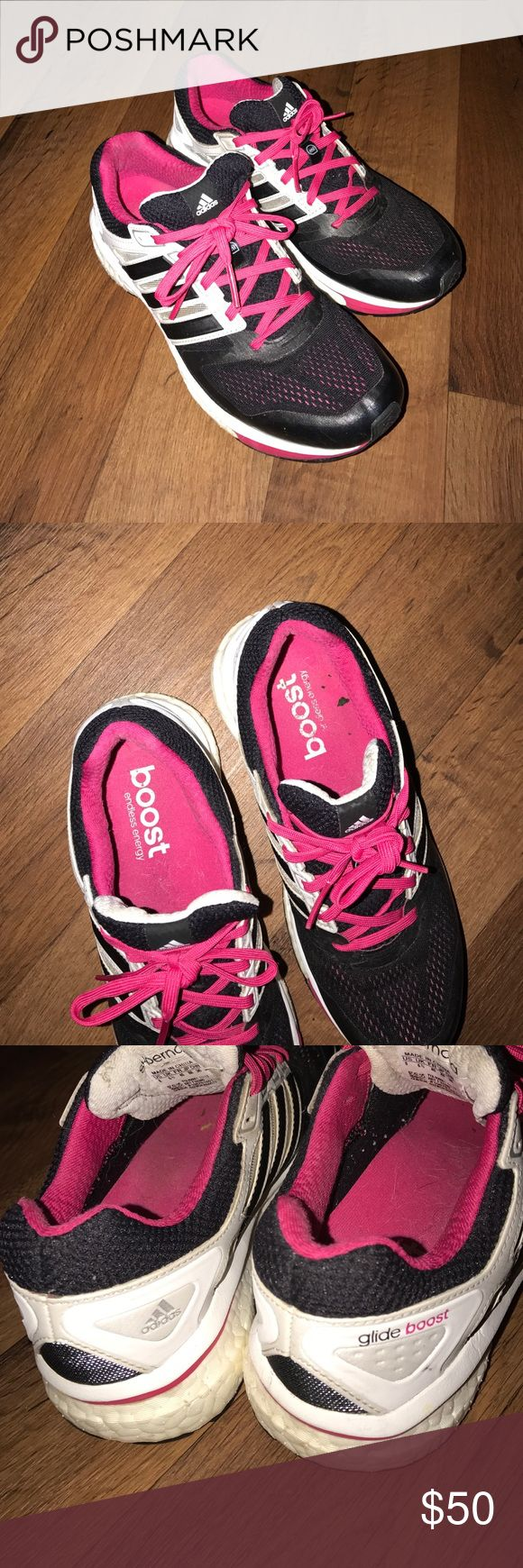 Size 8 Adidas Glide Boost Running Shoes Black Pink Excellent condition Adidas Shoes Athletic Shoes