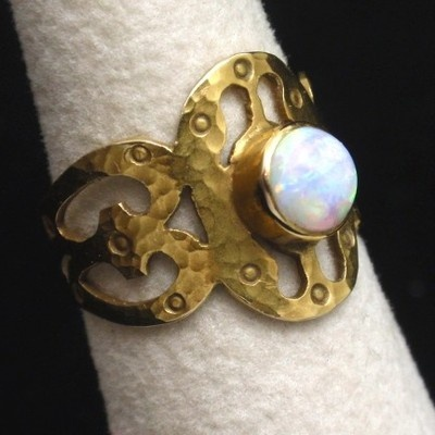 Cigar Band Ring 14k Gold Opal Arts & Crafts Vintage Hand-Wrought Unusual