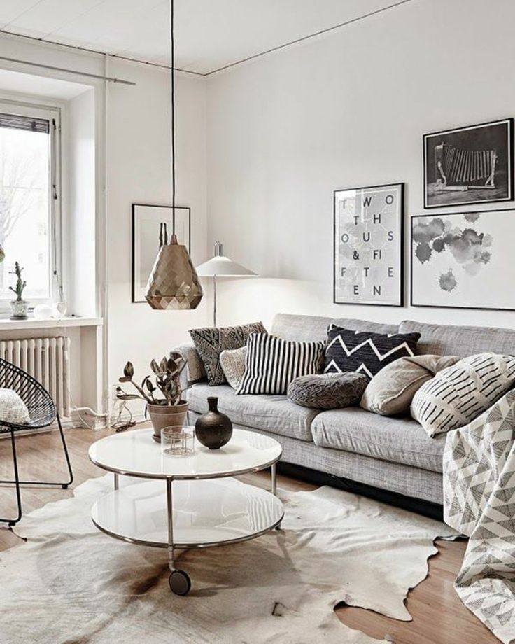 77 Gorgeous Examples Of Scandinavian Interior Design Neutral Nordic Living Room With Copper Light Feature