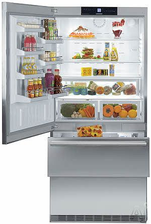 Liebherr CS2061 20 cu. ft. Counter Depth Bottom Freezer with Adjustable Glass Shelves, Full-Width Deli Drawer, LED Interior Light Column and Double Freezer Drawers: Left Hinge Door