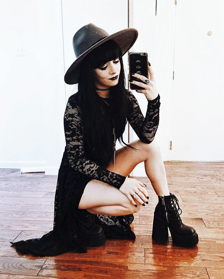 Black round hat, thrifted dress, lace up platform boots, choker & necklace pendant by jaglever