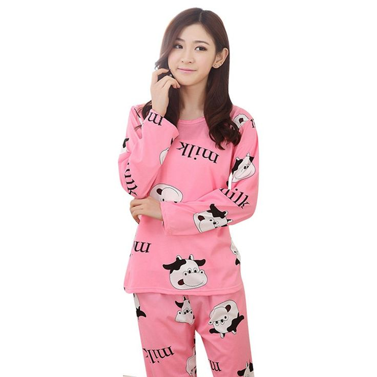 Autumn Spring Women Casual Sleepwear Cartoon Nightwear Homewear Pajamas Set Leisurewear