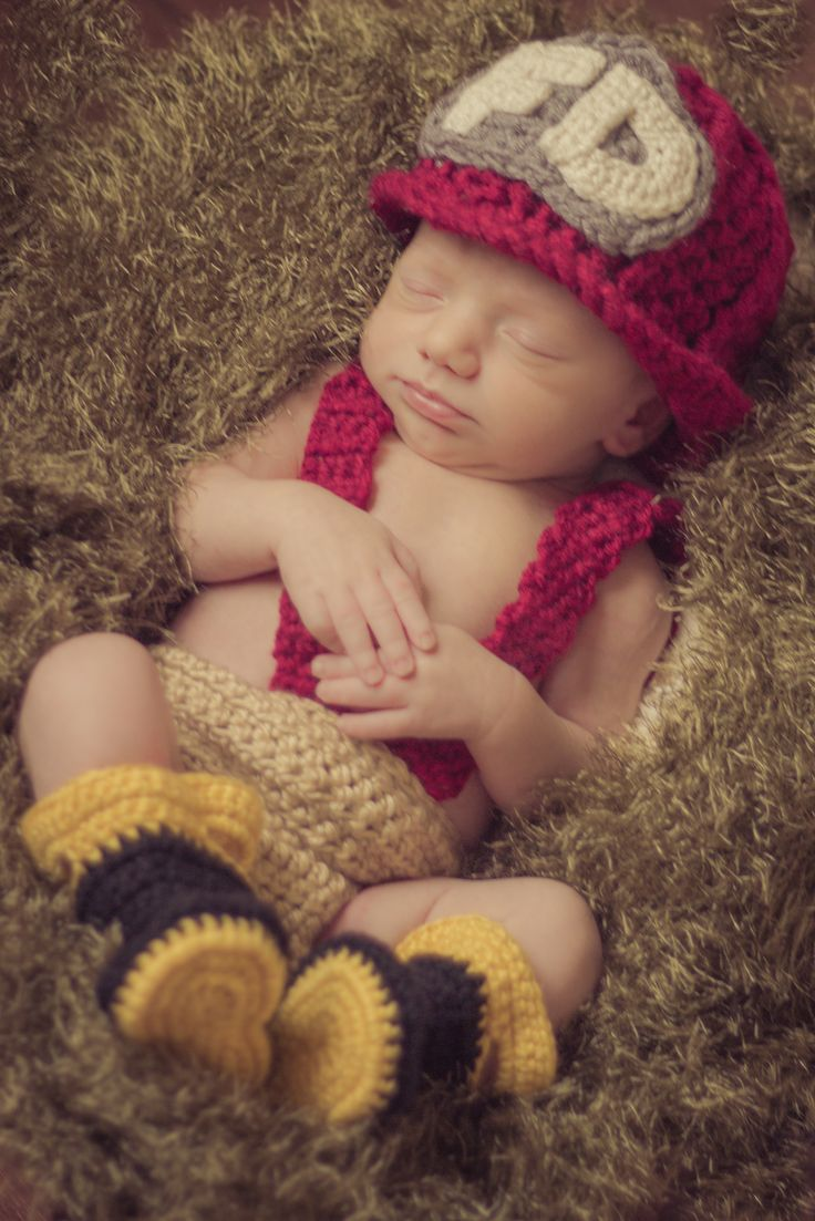 Crochet Firefighter outfit... This is the CUTEST crochet I have ever seen!