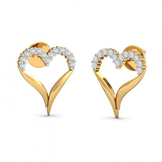 An incredibly designed heart stud earrings, like no other. It has beautiful round diamond studded on the upper half of the heart while the lower half curves beautifully to form a converging figure. Go ahead & customize it with options in Gold Purity (18K, 14K), Diamond Grade (SI-HI, VS-GH, VVS-GH) & Metal Colour (Yellow, White, Rose) of your liking. Create your own unique jewelry. #Incredible #Heart #Stud #Diamond #Earrings