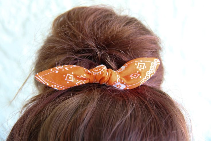 Knotted Bun Clip Hair Bows Orange Bandana Hair Bow Girl Teen Women Hair Accessory French Barrette Alligator Clip Hair Ties by Lorettajos on Etsy