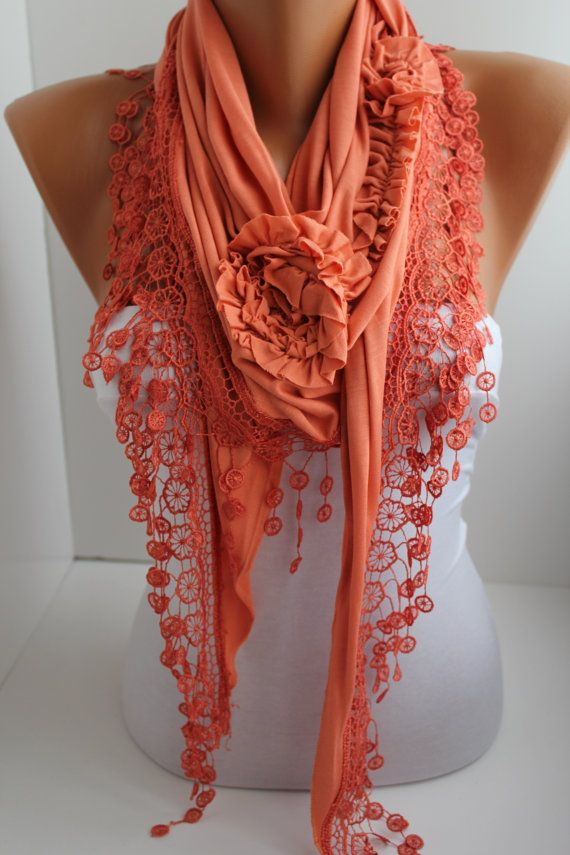 Dark Salmon Cotton Rose Shawl/ Scarf - Headband -Cowl with Lace Edge via Etsy
