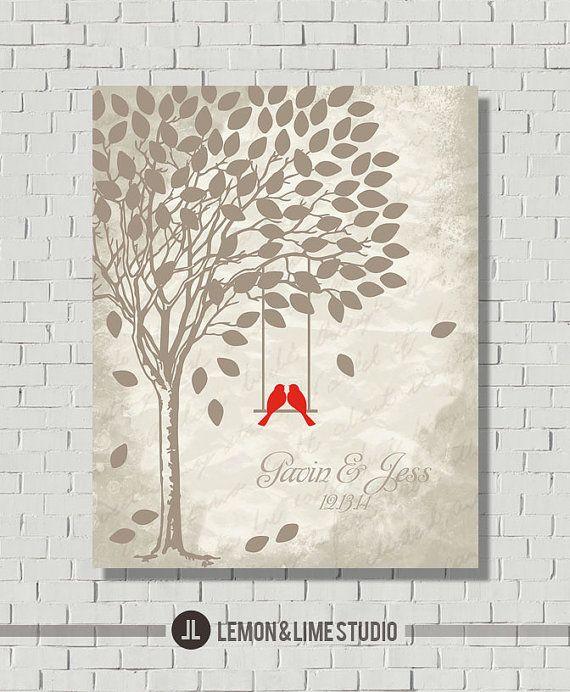 Wedding Gift, Bridal Shower Gift, Guest Book Gift, Wedding Guest Book Alternative, Vintage Guest Book Tree, Wedding Tree, Wedding Poster