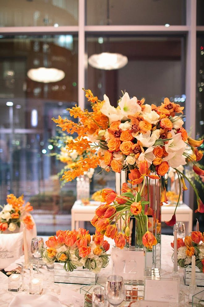 Best orange wedding centerpieces ideas on pinterest
