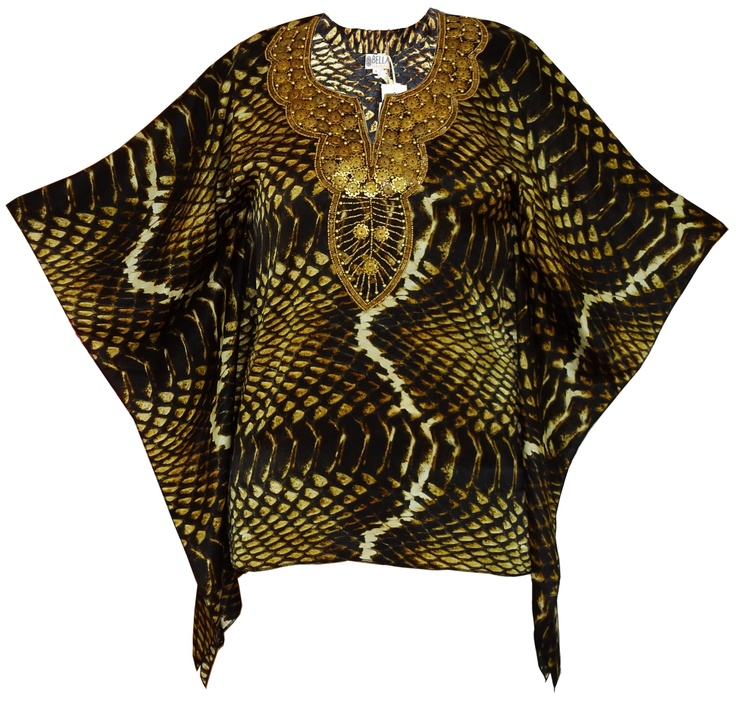 Bella Sian Silk Snake Kaftan Top